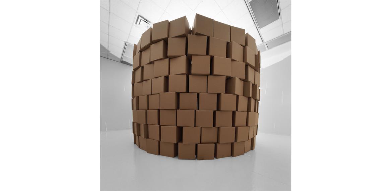 <em>236 prepared dc-motors, cotton balls, cardboard boxes 41x41x41cm</em>