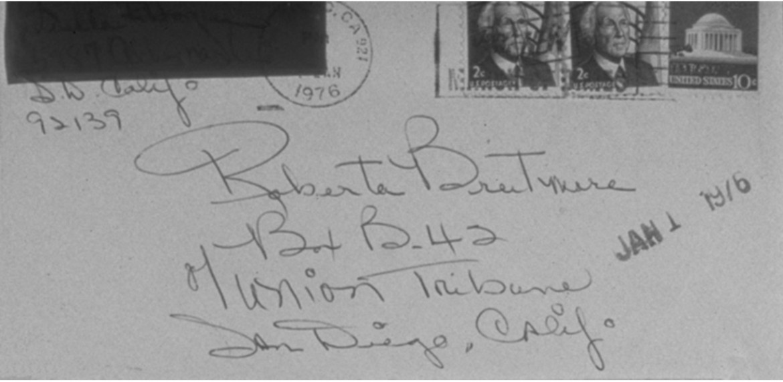 <em>Envelope of Letter from San Diego</em>