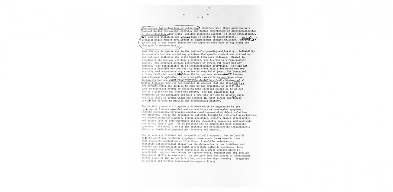 <em>Roberta's Confidential Psychiatric Evaluation</em>